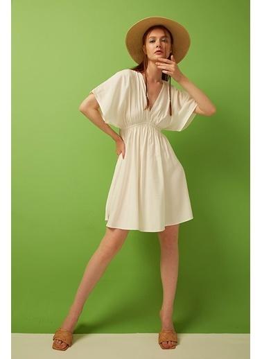 Modaset Büzgülü V Yaka Elbise Ekru Ekru